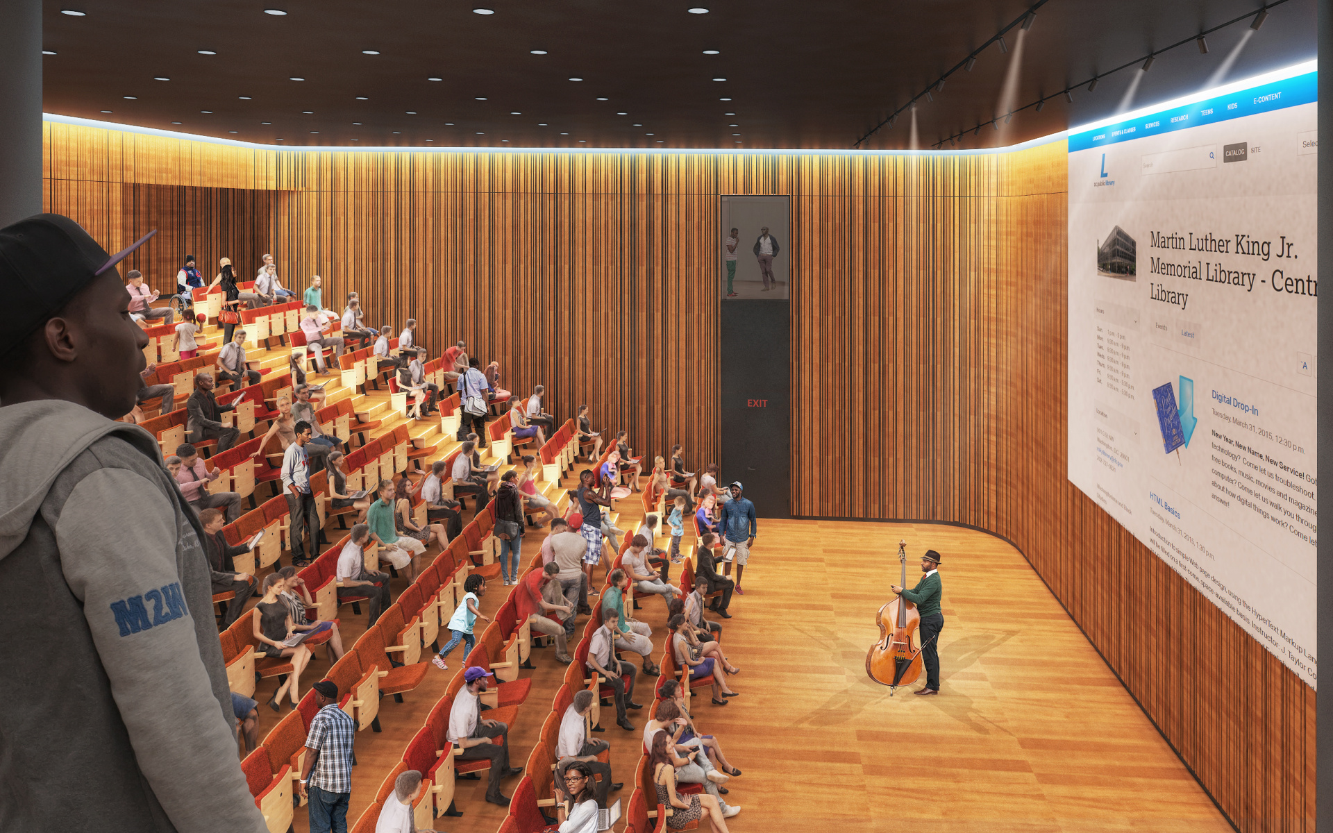 Renders used by Francine Houben (Mecanoo) for the auditorium of the Martin Luther King Jr. Memorial Library